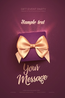 Красивый флаер или плакат ко дню святого валентина. вид сверху на подарочную коробку и лук. иллюстрация