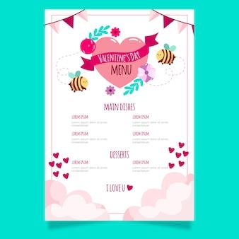 Красивый шаблон меню на день святого валентина