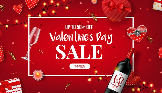 Beautiful valentine's day sale banner.