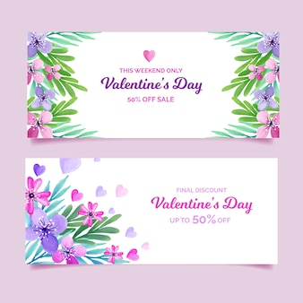 Beautiful valentine's day sale banners