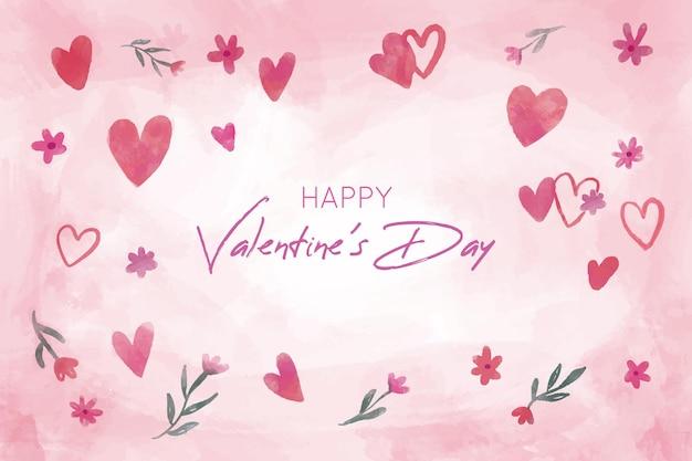 手描きの心と美しいバレンタインデーの背景
