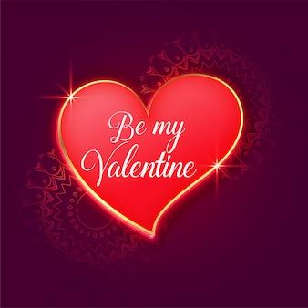 Красивая открытка на день святого валентина с красным блестящим сердцем