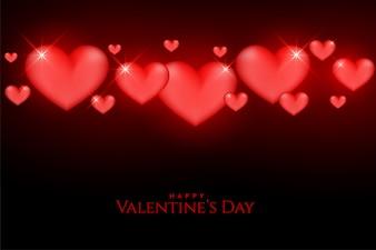 美しいバレンタインの日に輝く赤いハート