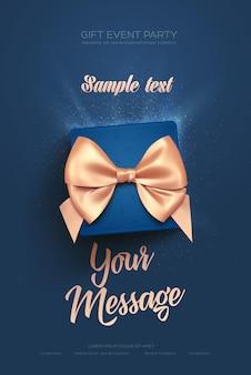 Красивый поздравительный флаер или плакат ко дню святого валентина вид сверху на синюю подарочную коробку и золотой лук