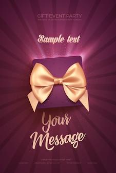 Красивый поздравительный флаер или плакат ко дню святого валентина вид сверху на подарочную коробку и лук