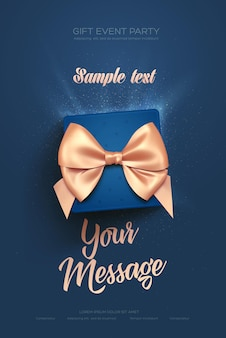 Beautiful valentines day greeting flyer or poster top view on blue gift box and golden bow
