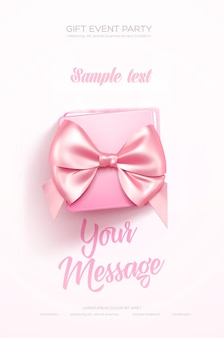 Beautiful valentines day greeting flyer or poster top view on pink gift box and pink bow