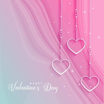 Beautiful valentines day greeting with hanging hearts