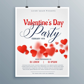Beautiful valentines day party flyer design