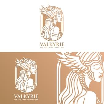 Beautiful valkyrie vector logo template