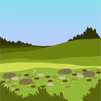 Beautiful valley with hills and stones, green summer landscape, nature background   illustration