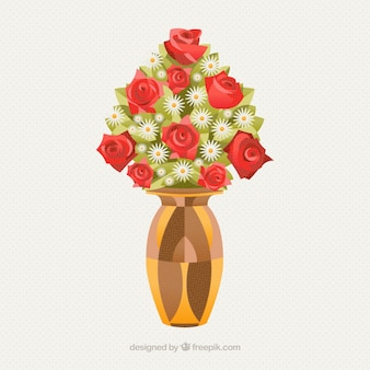 how to draw a bouquet of flowers in a vase