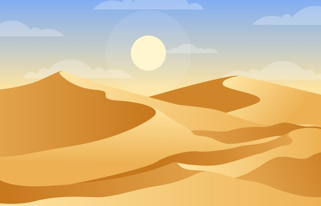 Beautiful vast desert hill mountain arabian horizon landscape illustration