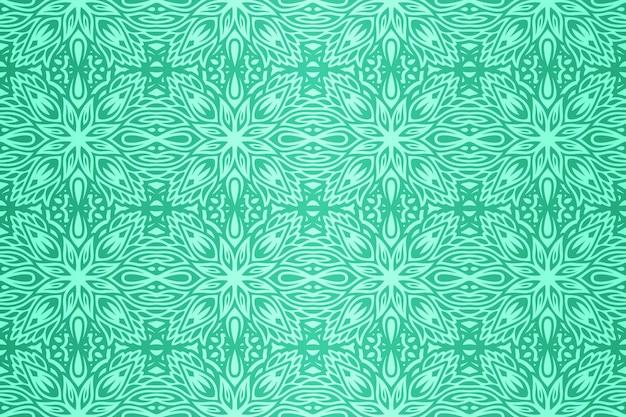 抽象的なカラフルな緑の手描きの花のシームレスなパターンと美しいベクトルの背景