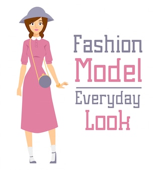 Beautiful vector cartoon fashion girl model constructor look standing
