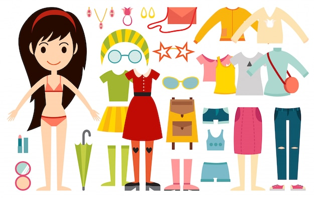 Beautiful vector cartoon fashion girl model constructor look standing