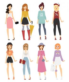 Beautiful vector cartoon fashion girl models look standing