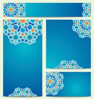 グリーティングカード名刺の美しいベクトルカラフルなサークルアラビア幾何学模様飾り