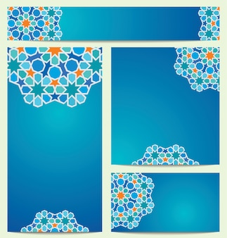 Beautiful vector colorful circle arabic geometric pattern ornament for greeting business card