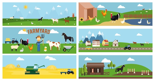 Beautiful vector farmyard cartoon