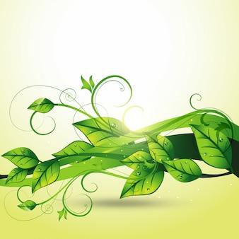 美しいベクトル流れる葉アート
