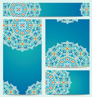 Beautiful vector geometric arabic background ornament for greeting business card