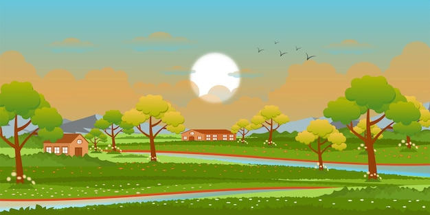 A beautiful vector of grassland in background design