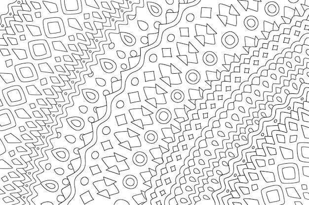 Beautiful vector illustration for adult coloring book page with abstract tribal linear pattern on the white background