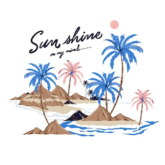 Beautiful vector of summer island for T-shirt
