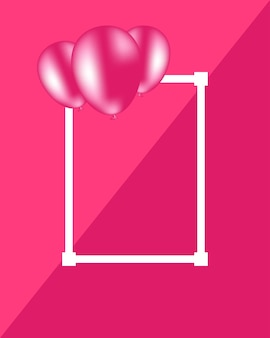 Beautiful vector pink background with elegant balloons and white frame free space for text