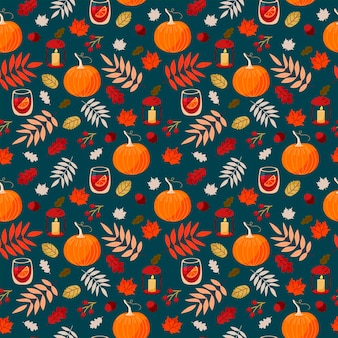 Beautiful vector seamless autumn with pumpkins, mulled wine, oak leaves, maple, acorns and berries on turquoise background . pattern for thanksgiving, halloween, gift wrapping or textile.