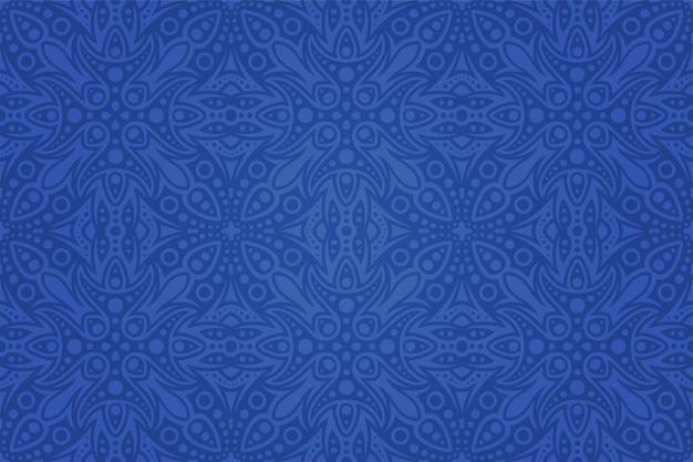 カラフルな青いシームレスなタイルパターンと美しいベクトル部族の背景