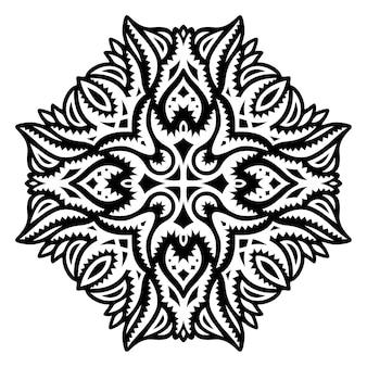 흰색 배경에 고립 된 추상 검은 패턴으로 아름 다운 벡터 부족 문신 그림
