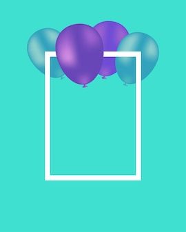 Beautiful vector turquoise background with balloons and white frame free space for your text