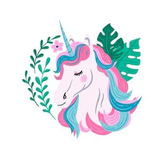 아름 다운 벡터 유니콘 그림 분홍색과 파란색 머리를 가진 흰색 유니콘 잎이 있는 유니콘