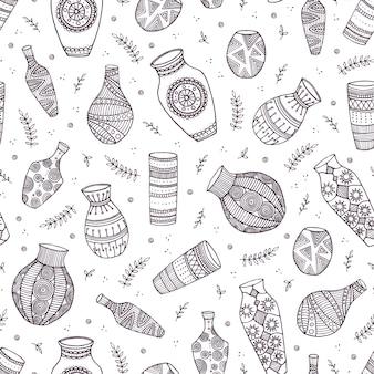 Beautiful vector vases seamless pattern
