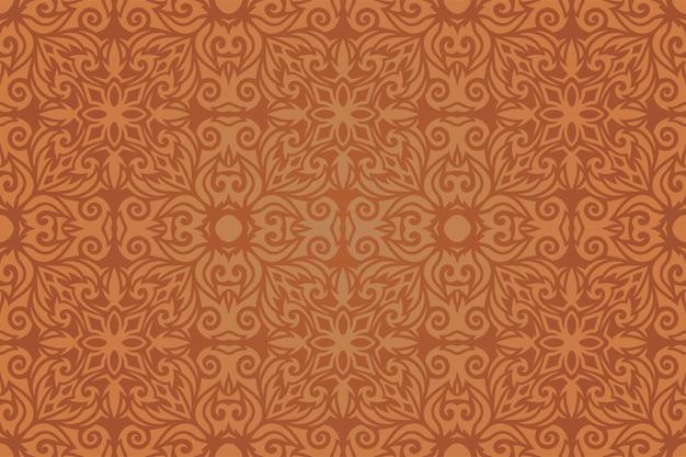 カラフルな茶色のヴィンテージのシームレスなパターンと美しいベクトルのweb背景