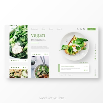 Beautiful vegan restaurant landing page template