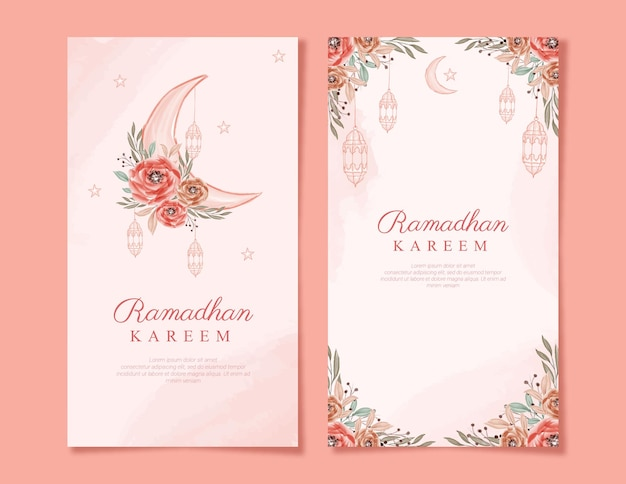 Красивый вертикальный рамадан карим с цветочной акварелью