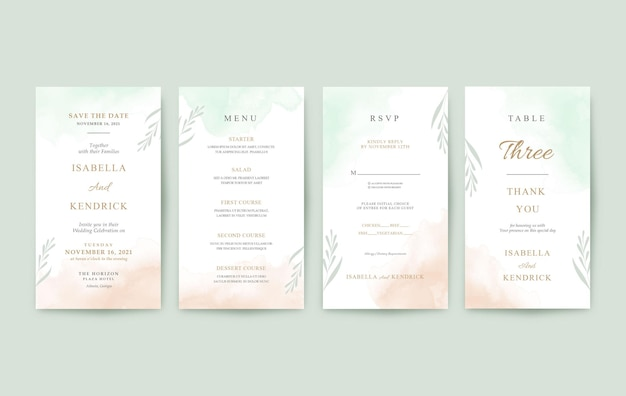 Beautiful vertical wedding invitation template