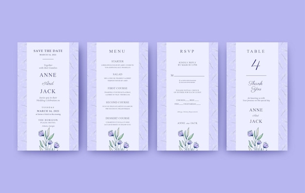 Beautiful vertical wedding invitation with pattern