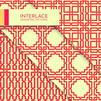 Beautiful vibrant interlace modern complex geometric patterns collection