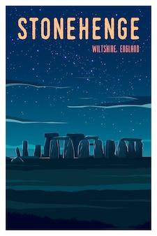 역사적인 건물 스톤헨지가 있는 영국 일몰의 아름다운 전망