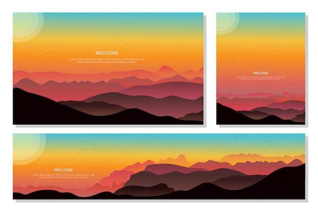 Прекрасный вид на вечернюю гору. абстрактный градиент фона, плоский дизайн.