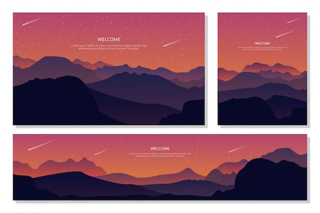 夕方の山の美しい景色。抽象的なグラデーションの背景、フラットなデザイン。