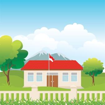 田舎のイラストでインドネシアの校舎の美しい景色