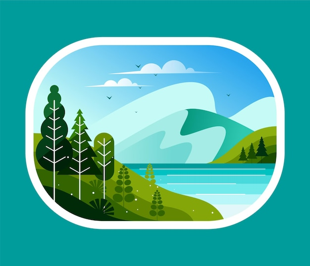 숲에 호수와 산의 아름다운 전망