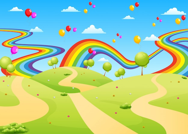 The beautiful view with the empty field and colorful balloon