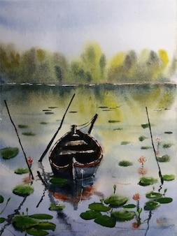 Beautiful village illustration nature landscape painting