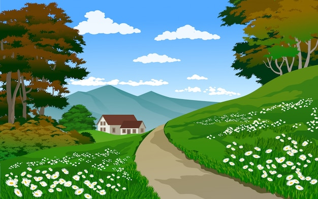 Beautiful village landscape with house